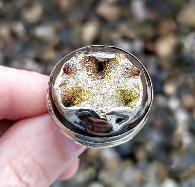 Prsten - Pyrito-amonitová geoda - Alpaka