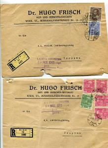 VÍDEŇ  - DVĚ R OBÁLKY ADVOKÁTA DR. HUGA FRITSCHE 1915  / AF 73