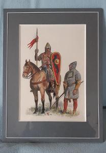 Karel M. Toman VIKINGOVÉ akvarel