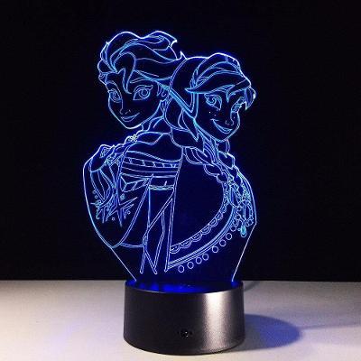 Frozen / Ledové království - LED lampa 3D, různé barvy Elsa Anna