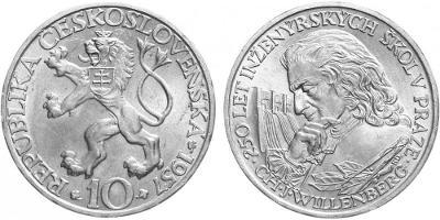 💥 stříbrná pamětní mince 10 Kčs 1957 - 250. výročí inž. škol - TOP !