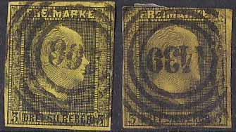 PREUSSEN ( Prusko ) Mi. 4a + 4b, razítkovaná