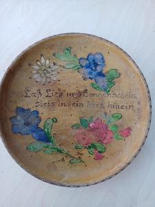 Retro dřevěný talířek Salzburg malovaný.