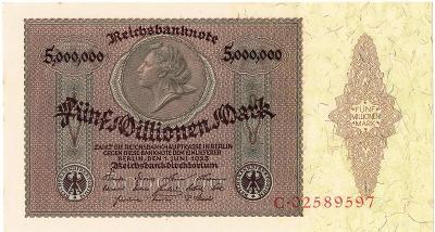 500 MILLIONEN MARK, 1923, série C, krásná bankovka, TOP STAV UNC !!!