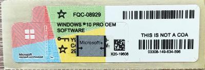 Windows 10 Professional - licenční štítek s OEM klíčem + faktura