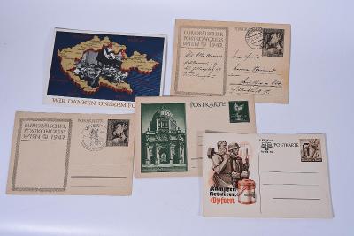 Zajímavý konvolut pohlednic, dopisnic a filatelie třetí říše 30 kusů!