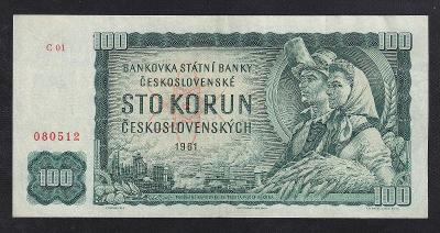 VZÁCNÁ 100 KORUNA 1961 PRVNÍ SÉRIE C 01 - NÁDHERNÁ!