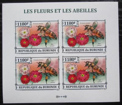 Burundi 2013 Včely a květiny neperf. Mi# 3289 B Bogen 2349