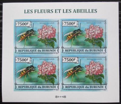 Burundi 2013 Včely a květiny neperf. Mi# 3292 B Bogen 2349