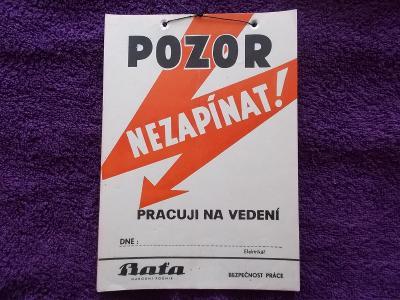 Stará originál plakát Bezpečnost práce elektrikář proud Bata Zlín