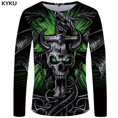 Super kvalitní pánské triko s dlouhým rukávem, skull 3XL. 5159