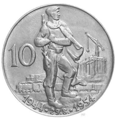 Vzácná stříbrná 10 koruna 1954 - 10. výročí SNP, Ag 12g