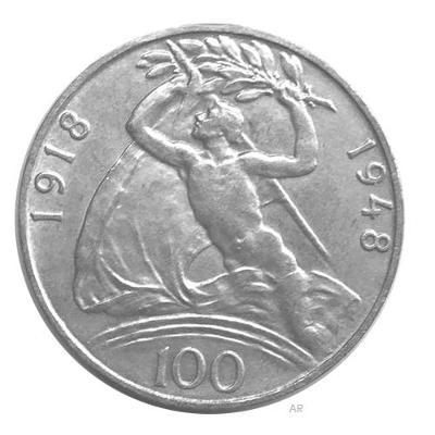 100 koruna 1948 - 30. výročí vzniku Československé republiky, Ag 14g!