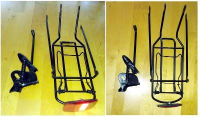 Dětské kolo – nový zadní nosič s odrazkou + nový sklopný stojánek