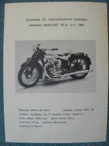 propagační leták na výstavu historických vozidel v Hr. Králové r. 1981