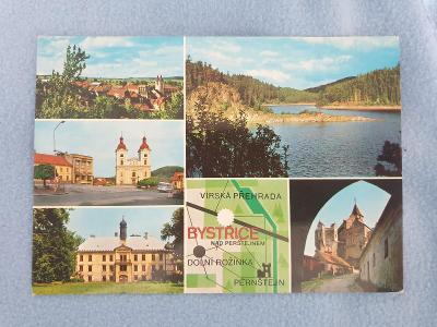 Pohlednice Bystřice nad Pernštejnem 1974