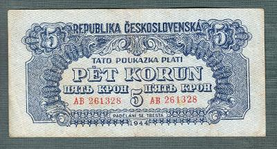 5 korun 1944 serie AB neperforovana