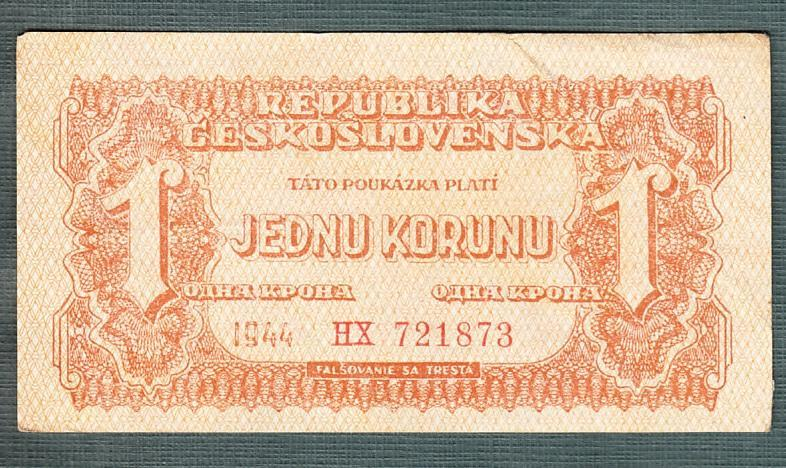 1 korun 1944 serie HX neperforovana - Bankovky
