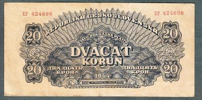 20 korun 1944 serie EP NEPERFOROVANA