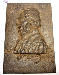 VELKÁ PLAKETA BEDŘICH SMETANA 1824-1924 - 14 X 9,5 CM