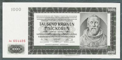 1000 korun 1942 serie Ja NEPERFOROVANA stav 1+