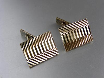 Luxusní manžetové knoflíčky- zajímavá struktura- lehce zlacené STŘÍBRO