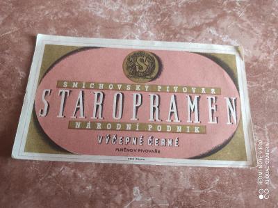 Staropramen smíchovské pivovar etiketa