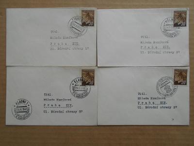 ZNÁMKY - RAZÍTKA na obálkách - pamětní 4 KS   1945 KLADNO, MĚLNÍK K.V.