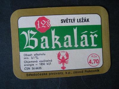 Pivní etiketa Bakalář nepoužitá