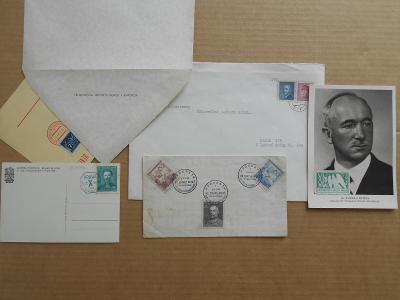 SOKOL president BENEŠ - 5 KS OBÁLKY ZNÁMKY RAZÍTKA Sez. Ú., SMÍCHÍCHOV