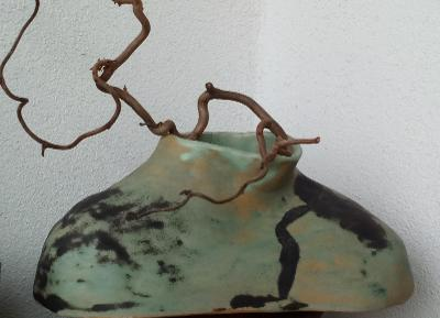 Váza nízká zelená