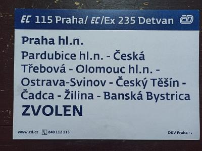 Směrová cedule EC/Ex 235/234 DETVAN