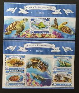 Maledivy 2015 Mi.5619-2+Bl.786 20€ Fauna Malediv- želvy, plazi