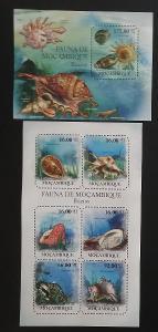 Mozambik 2011 Mi.4840-5+Bl.494 22€ Fauna Mozambiku - mušle a škeble