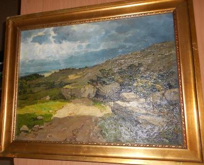 V. H. POPELKA 1927 - KRAJINA PŘED BOUŘÍ, olej na plátně