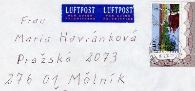 Dopisní obálka z NSR do Čech rok 1997