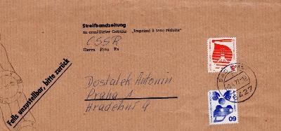 Dopisní obálka z NSR do Čech rok 1977