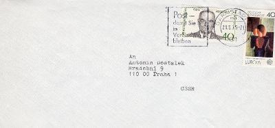Dopisní obálka z NSR do Čech rok 1975