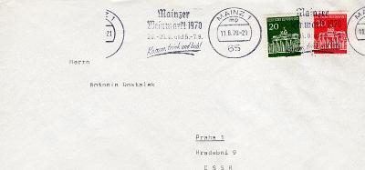 Dopisní obálka z NSR do Čech rok 1970