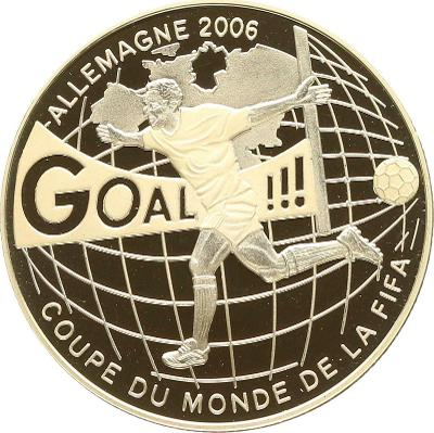 Kongo 10 Frans 2004 MS fotbal 2006 925Ag 38,61g PROOF čŠU012