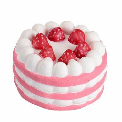 Mačkací antistresová hračka squishy dort růžový 0366