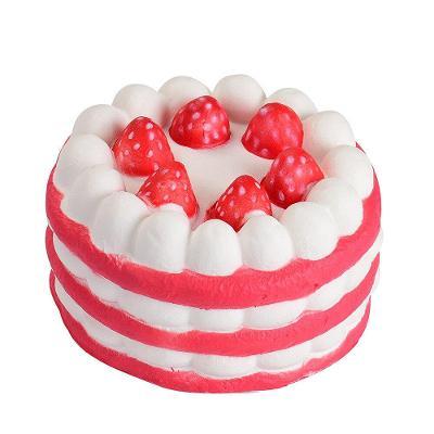 Mačkací antistresová hračka squishy dort červený 0366