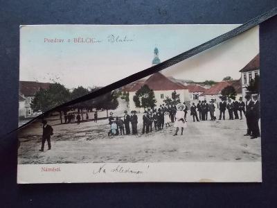 Strakonice Blatná Bělčice náves kostel lidé