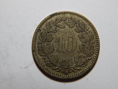 Švýcarsko 10 Rappen 1850BB XF č36203