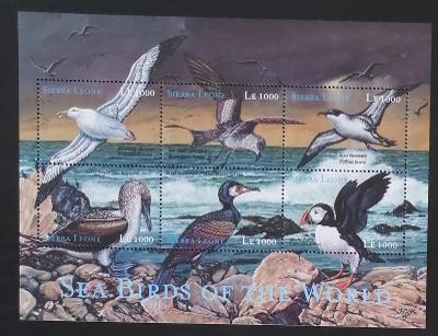 Sierra Leone 2000 Mi.3521-6 10€ Mořští ptáci Afriky, fauna pobřeží