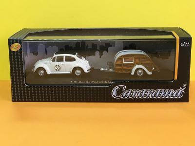 VW Beetle # 53 with Caravan III - Cararama Hongwell 1/72 (H3-C2)