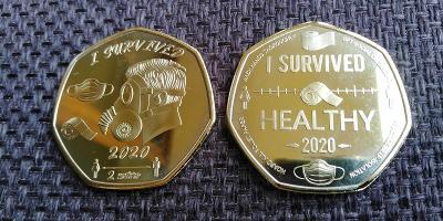 PŘEŽIL JSEM 2020 medaile rouška mince kovid korona virus pozlacená