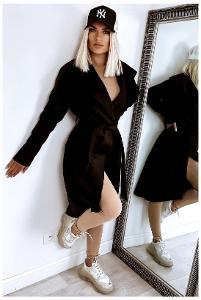 Lehký dámský moderní kabát = Black 688 = XS/S