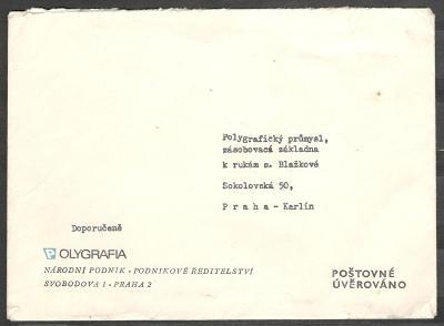 Obálka Polygrafia n.p., doporučeně, poštovné úvěrováno