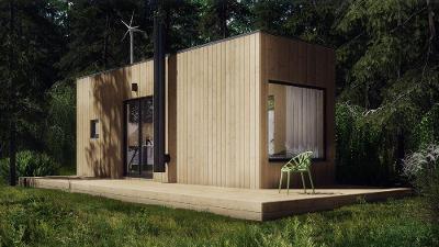 Kontejnerová chata Blokki mini vybavená off grid technologií